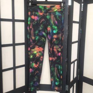 Neon feather yoga pants